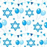 Modelo inconsútil feliz de Israel Independence Day con las banderas y el empavesado Días de fiesta judíos fondo sin fin, textura Fotografía de archivo