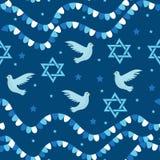 Modelo inconsútil feliz de Israel Independence Day con las banderas y el empavesado Días de fiesta judíos fondo sin fin, textura Foto de archivo