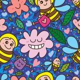 Modelo inconsútil feliz de la flor del agua de la abeja Fotos de archivo libres de regalías