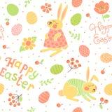 Modelo inconsútil feliz de Pascua con los conejitos lindos Fotografía de archivo libre de regalías