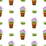 Modelo inconsútil feliz de pascua Concepto plano del día de fiesta de la primavera de los iconos Imagen de archivo