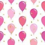 Modelo inconsútil festivo con los globos y el confeti coloridos del brillo Para el cumpleaños, fiesta de bienvenida al bebé, dise ilustración del vector