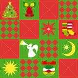 Modelo inconsútil festivo del edredón de la Navidad viva Fotografía de archivo
