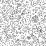 Modelo inconsútil festivo dibujado mano del esquema del Año Nuevo 2018 con los copos de nieve, las bolas de la Navidad, los cierv Imágenes de archivo libres de regalías