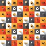 Modelo inconsútil festivo plano del pixel de Halloween en vector Fotografía de archivo