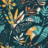 Modelo inconsútil floral abstracto con texturas dibujadas mano de moda Imagen de archivo
