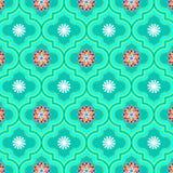 Modelo inconsútil floral adornado verde suave hermoso de Marruecos ilustración del vector