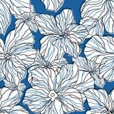 Modelo inconsútil floral azul abstracto stock de ilustración
