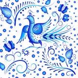 Modelo inconsútil floral azul en el estilo ruso Foto de archivo