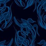 Modelo inconsútil floral azul marino de iris abstractos Fotos de archivo
