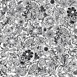 Modelo inconsútil floral blanco y negro Imagen de archivo