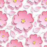 Modelo inconsútil floral con 3d Sakura y hojas Imagen de archivo