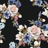 Modelo inconsútil floral con las petunias, el hellebore, las rosas y los iris Imagen de archivo libre de regalías