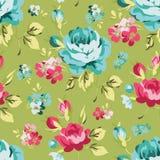 Modelo inconsútil floral con las rosas azules Fotos de archivo