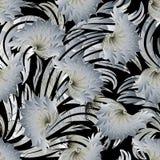 Modelo inconsútil floral 3d Papel pintado negro IL del fondo del vector Imagen de archivo