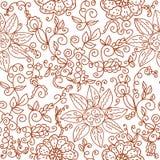Modelo inconsútil floral de Brown Imagenes de archivo