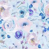 Modelo inconsútil floral de la acuarela apacible en un La Prima Style, rosas rosadas de la acuarela libre illustration