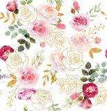Modelo inconsútil floral de la acuarela con los elementos de oro libre illustration