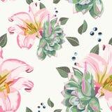 Modelo inconsútil floral del vector con las hierbas del verano, suculento, las bayas y los lirios reales rosados ilustración del vector