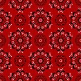 Modelo inconsútil floral Diseño blanco y negro en fondo rojo Imagen de archivo