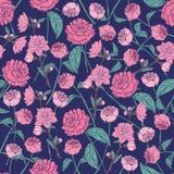 Modelo inconsútil floral elegante con las rosas hermosas en fondo oscuro Contexto magnífico con la mano rosada de las flores dibu Imagen de archivo