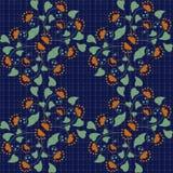 Modelo inconsútil floral en estilo retro en fondo azul Imagen de archivo