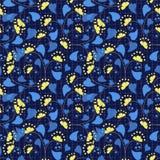 Modelo inconsútil floral en estilo retro en fondo azul Fotografía de archivo