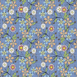 Modelo inconsútil floral, fondo azul claro de las flores lindas de la historieta Imagen de archivo