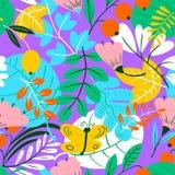 Modelo inconsútil floral Fondo con las flores y las hojas Vec Imágenes de archivo libres de regalías