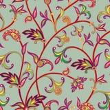 Modelo inconsútil floral Fondo del remolino de la flor Ornamento árabe con las flores y las hojas fantásticas Foto de archivo libre de regalías