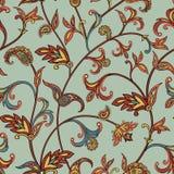 Modelo inconsútil floral Fondo del remolino de la flor Ornamento árabe con las flores y las hojas fantásticas Fotografía de archivo