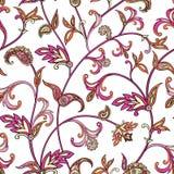 Modelo inconsútil floral Fondo del remolino de la flor Ornamento árabe con las flores y las hojas fantásticas Imagenes de archivo