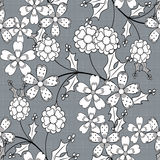 Modelo inconsútil floral, fondo lindo del gris de las flores de la historieta Imagen de archivo
