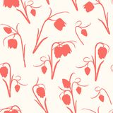 Modelo inconsútil floral Las flores del tulipán de la primavera provienen, las hojas, flor, brotes Rojo coralino carmesí en fondo ilustración del vector