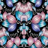 Modelo inconsútil floral moderno del extracto 3d Wi del fondo del vector Fotografía de archivo libre de regalías