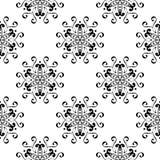Modelo inconsútil floral negro en el fondo blanco Imagen de archivo