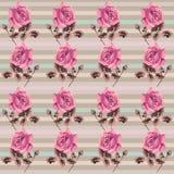Modelo inconsútil floral retro del verano (rosas) en la elegancia lamentable del estilo, Provence, boho ilustración del vector