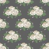 Modelo inconsútil floral retro Rosas blancas en fondo oscuro Ilustración del vector Foto de archivo