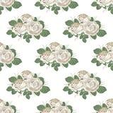 Modelo inconsútil floral retro Rosas en el fondo blanco Ilustración del vector Fotos de archivo