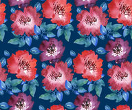 Modelo inconsútil floral rojo brillante decorativo Imagen de archivo libre de regalías