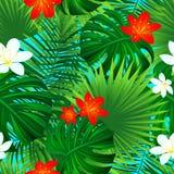 Modelo inconsútil floral Textura repetida tropical del vector las flores tropicales exóticas, salen del fondo papel pintado hermo ilustración del vector