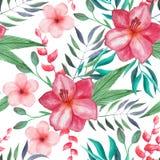 Modelo inconsútil floral tropical de la acuarela Fotografía de archivo libre de regalías