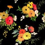 Modelo inconsútil floral Verano y Autumn Flowers Background Fotografía de archivo libre de regalías