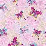 Modelo inconsútil floral y de las mariposas elegante. Garabatos Imagen de archivo