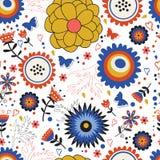 Modelo inconsútil floreciente colorido de las flores Imagen de archivo