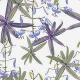 Modelo inconsútil, flores de los lirios y plantas exóticas verdes en fondo ligero stock de ilustración