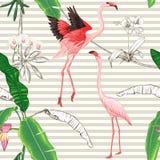 Modelo inconsútil, fondo con las plantas tropicales ilustración del vector