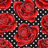 Modelo incons?til, fondo con las rosas resumidas rojas, en fondo de los lunares libre illustration