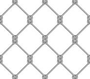 Modelo inconsútil, fondo, cuerda gris tejida en la red de pesca de la forma, en blanco Imagen de archivo