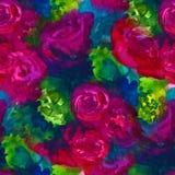 Modelo inconsútil Fondo pintado a mano de la acuarela Flores abstractas el ramo de flores, subió, peonía, tarjeta de felicitación imágenes de archivo libres de regalías
